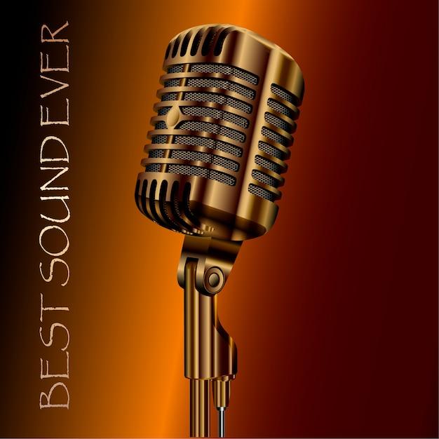 Microfone de áudio concerto vintage. karaokê, rádio Vetor Premium