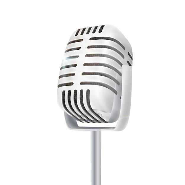 Microfone de estúdio de prata vintage. Vetor Premium