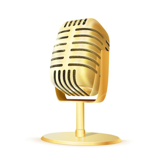 Microfone de estúdio dourado vintage. Vetor Premium