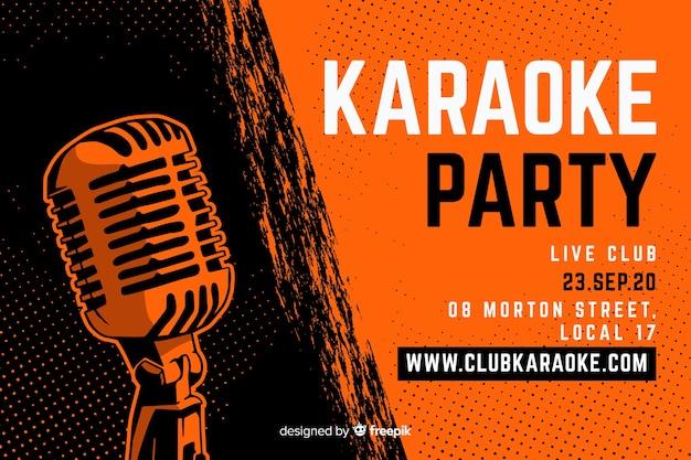 Microfone de mão desenhada de modelo de banner de karaoke Vetor grátis