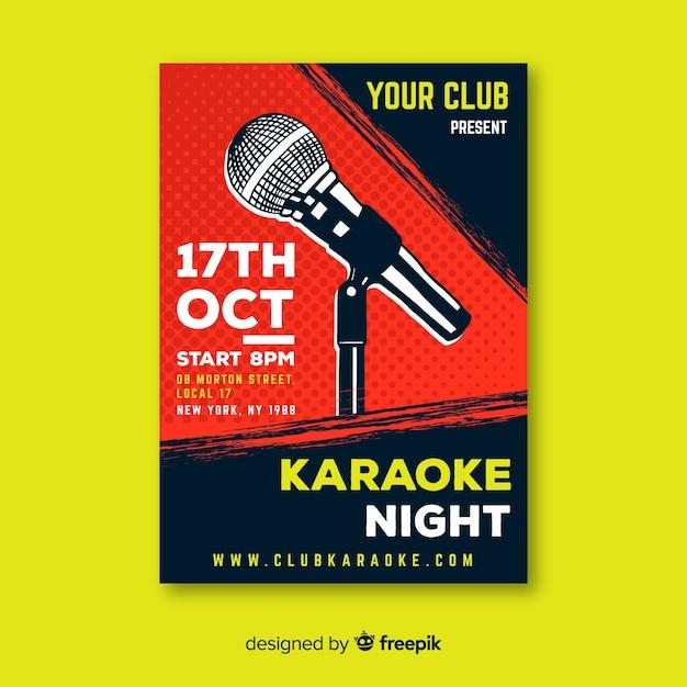 Microfone de mão desenhada de modelo de cartaz de karaoke Vetor grátis