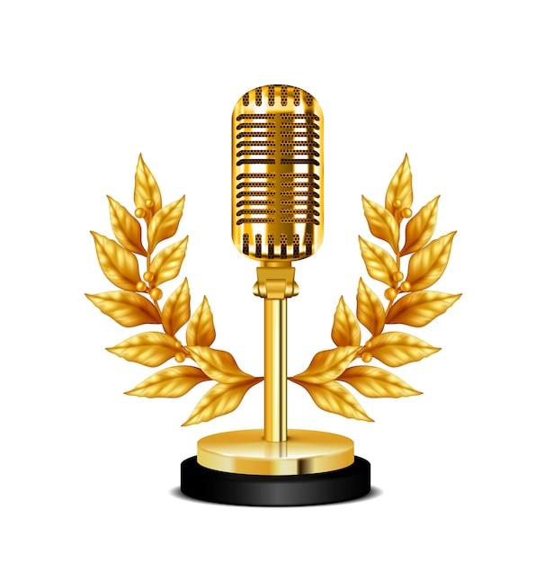 Microfone de mesa ouro vintage prêmio decorado com coroa de flores na ilustração realista de fundo branco Vetor grátis