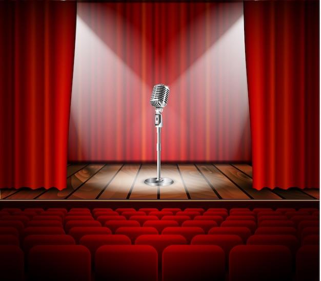 Microfone e cortina vermelha Vetor Premium