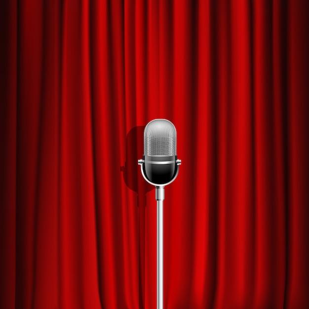 Microfone e vermelho cortina fundo realista como símbolo de palco Vetor grátis