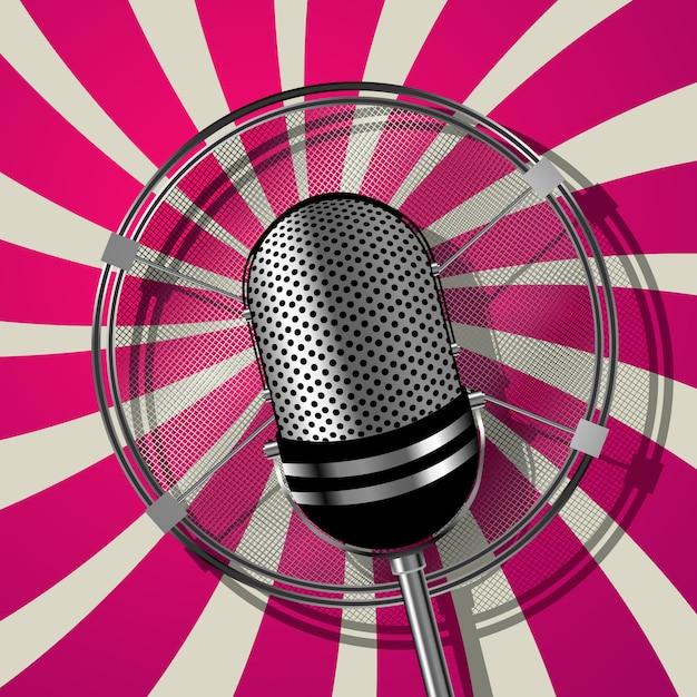 Microfone estilo retro Vetor Premium