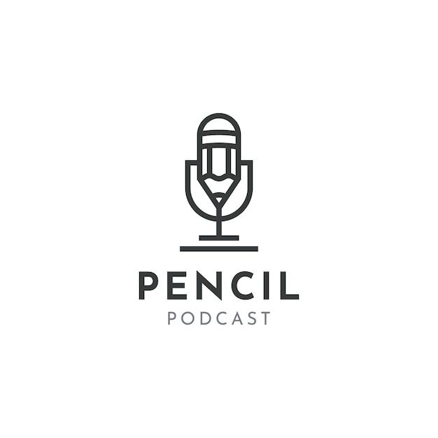 Microfone lápis microfone conferência podcast rádio design de logotipo Vetor Premium