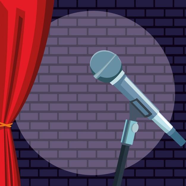 Microfone luz parede cortina de tijolo stand up comedy show Vetor Premium
