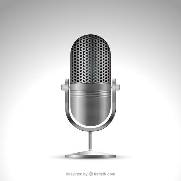 Microfone metálico em estilo realista Vetor grátis
