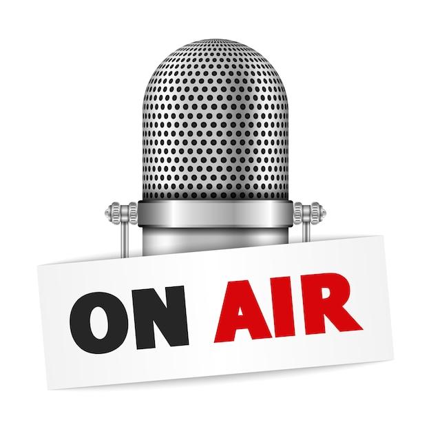Microfone no ar Vetor Premium