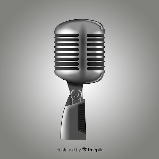 Microfone realista Vetor grátis