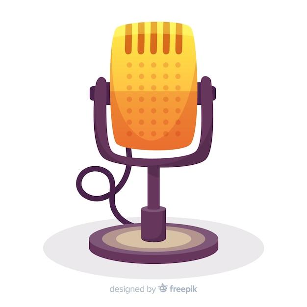 Microfone retrô desenhado de mão Vetor grátis