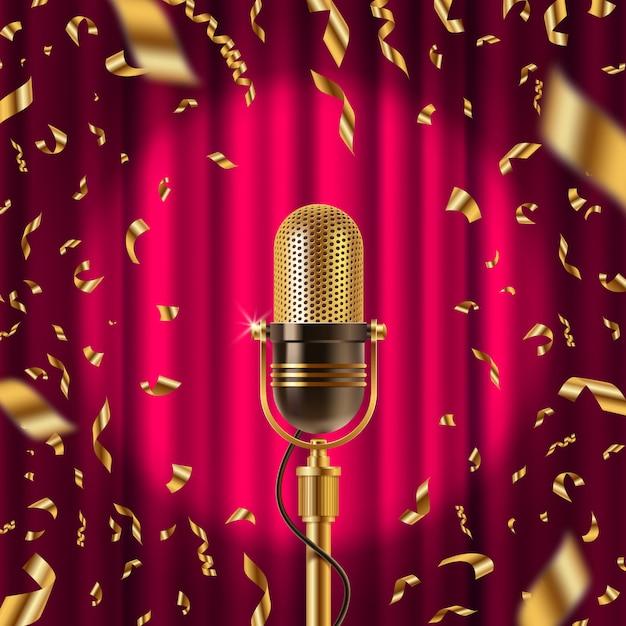 Microfone retrô no palco no centro das atenções no contexto da cortina vermelha e confetes dourados. ilustração Vetor Premium