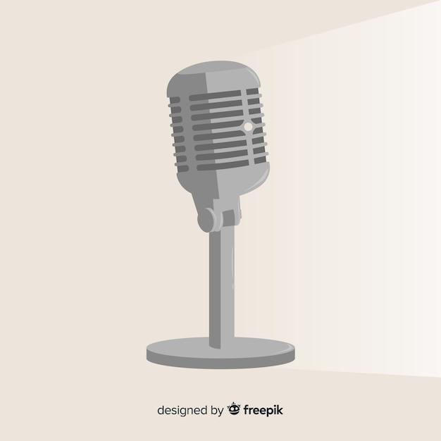 Microfone retro plana Vetor grátis