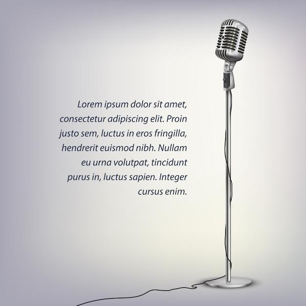 Microfone retrô prateado com cabo no suporte de chão e texto em cinza iluminado Vetor Premium