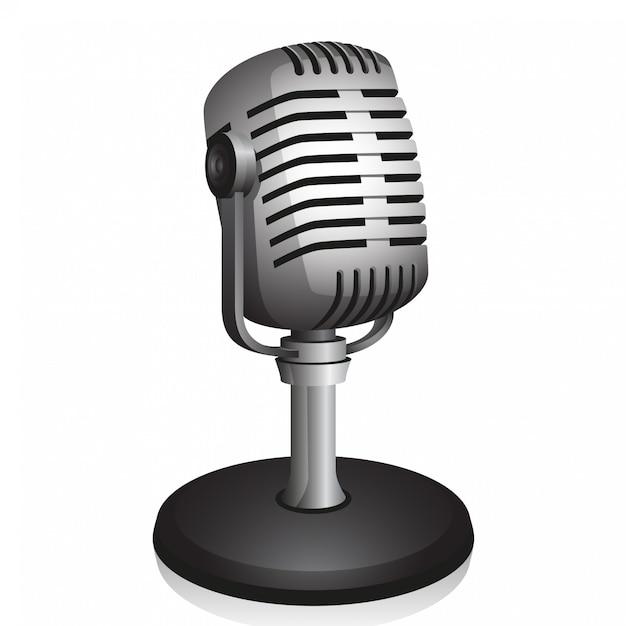 Microfone retro Vetor Premium