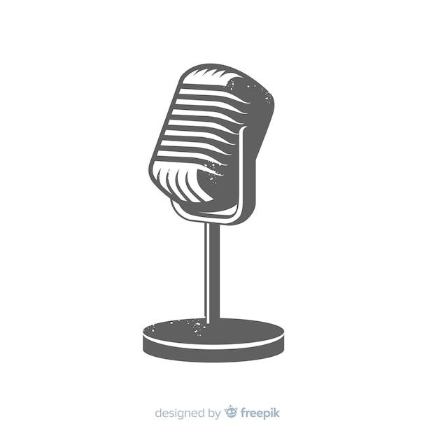 Microfone vintage desenhado de mão Vetor grátis