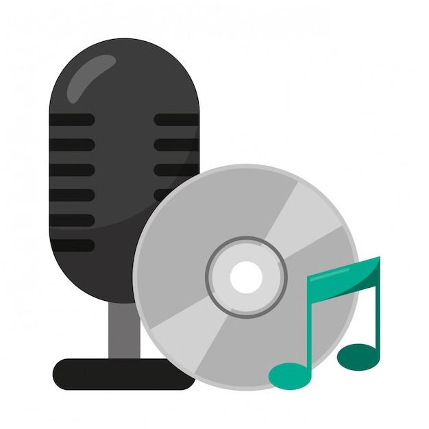 Microfone vintage e música cd rom Vetor Premium