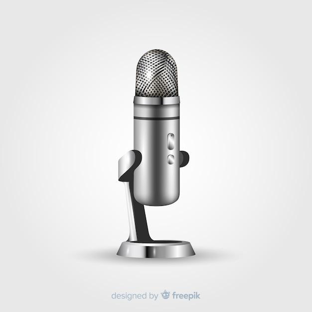 Microfone vintage realista Vetor grátis