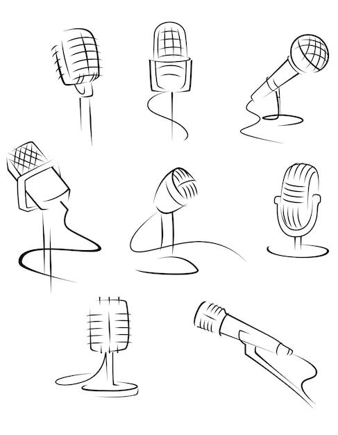 Microfones isolados Vetor Premium
