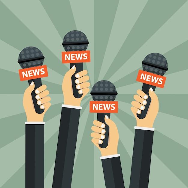 Microfones nas mãos do repórter Vetor grátis
