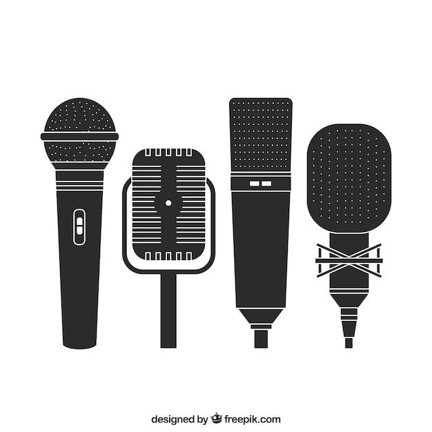 Microfones retros Vetor grátis