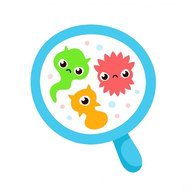 Microrganismo bacteriano em um círculo. conjunto colorido de bactérias e germes Vetor Premium