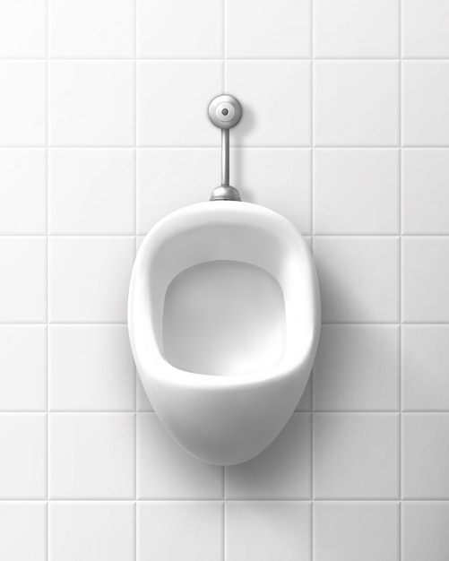 Mictório de cerâmica branco na parede no banheiro masculino Vetor grátis