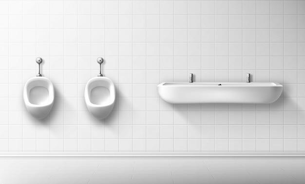 Mictório de cerâmica e bacia em banheiro masculino público Vetor grátis