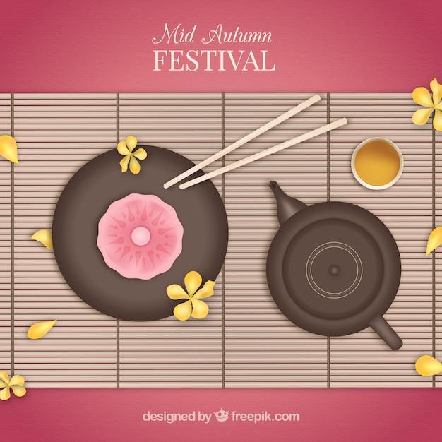 Mid-autumn festival com fundo comida típica Vetor grátis