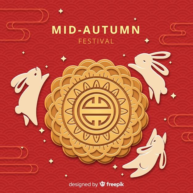 Mid festival outono composição com estilo de papel Vetor grátis