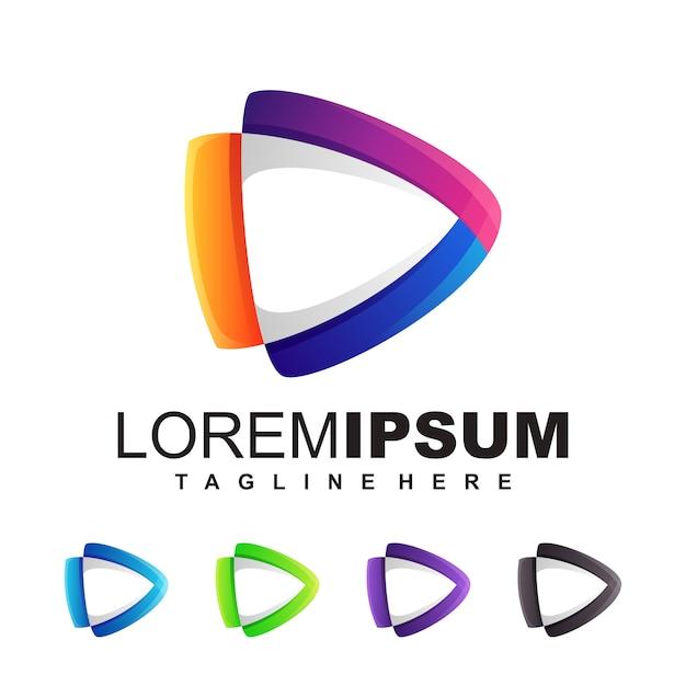 Mídia logotipo design ilustração Vetor Premium