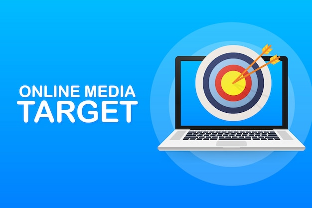 Mídia on-line, público-alvo, marketing digital. Vetor Premium