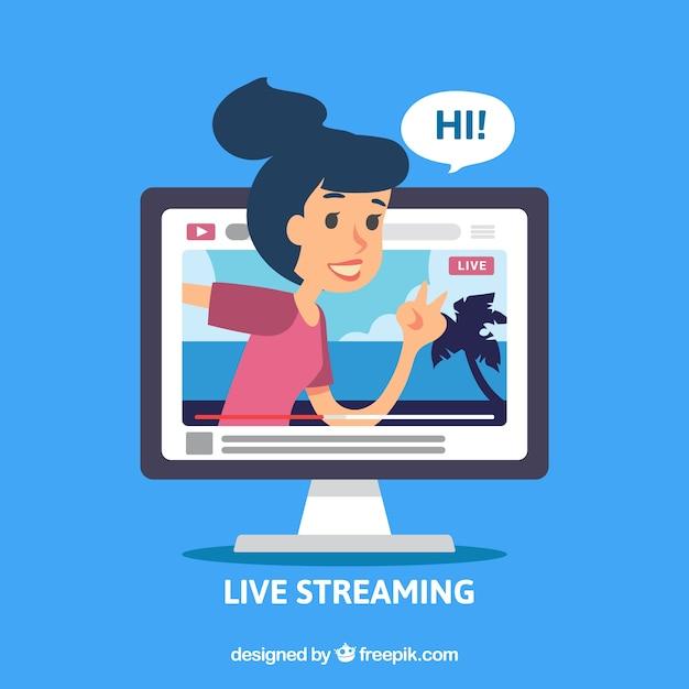 Mídia social ao vivo streaming com design plano Vetor grátis