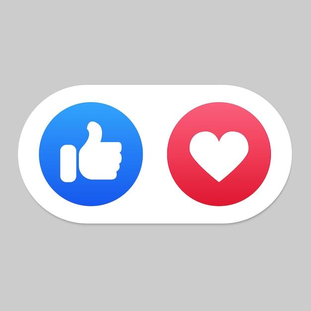 Mídia social como e ícones de coração Vetor Premium