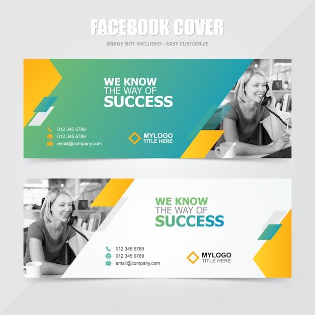 Mídia social corporativa facebook banner vector template Vetor Premium