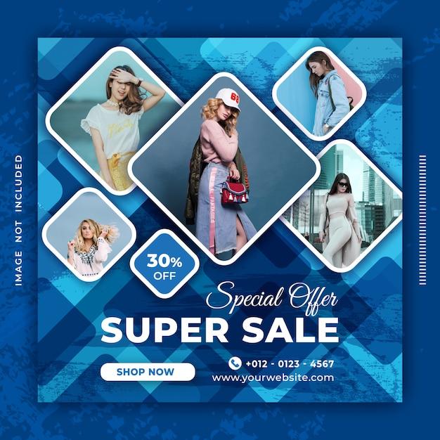 Mídia social de banner de venda postar modelo de design. Vetor Premium