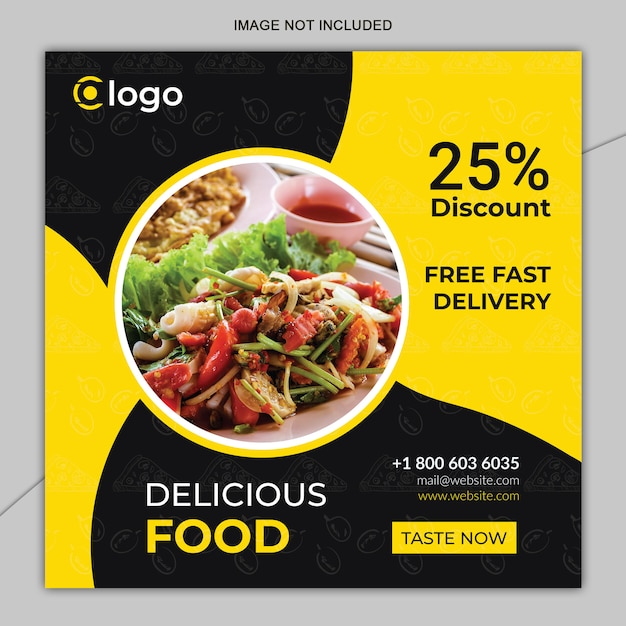 Mídia social de comida de restaurante postar modelo de design Vetor Premium