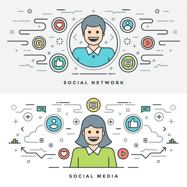 Mídia social de linha plana e ilustração do conceito de rede Vetor Premium