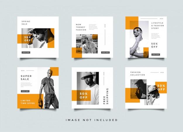 Mídia social de moda alimenta coleção de vetor de design de promoção de postagem Vetor Premium
