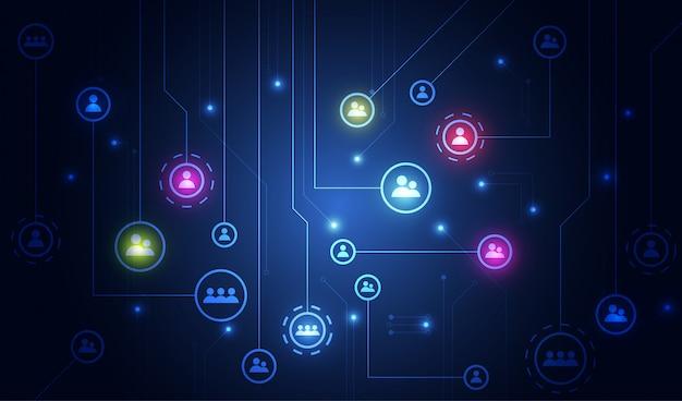 Mídia social e informação ou rede Vetor Premium