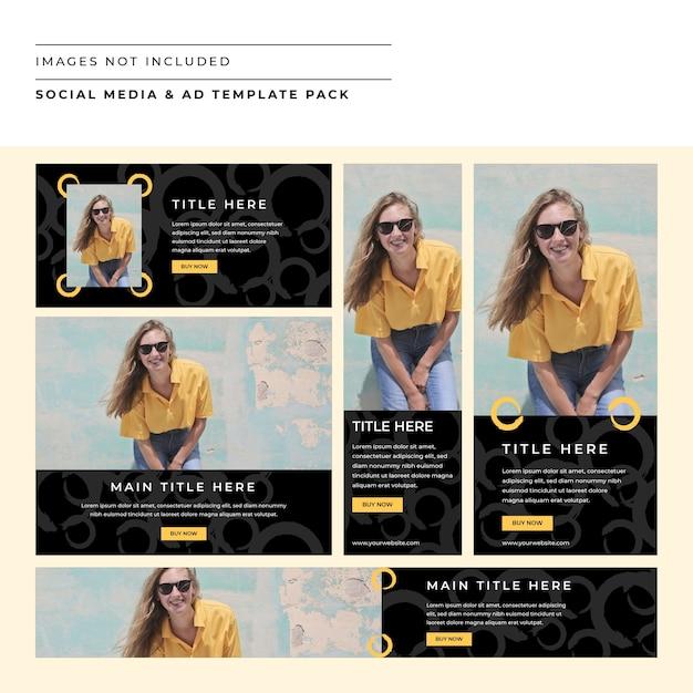 Mídia social e pacote do modelo de anúncio Vetor Premium