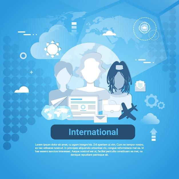 Mídia social internacional comunicação web banner com espaço da cópia no fundo azul Vetor Premium