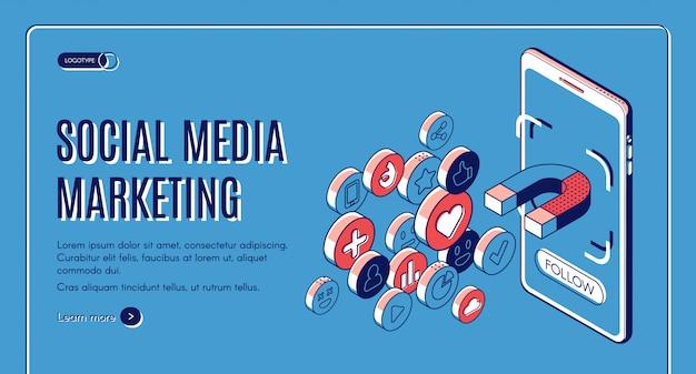 Mídia social marketing isométrica web banner. Vetor grátis