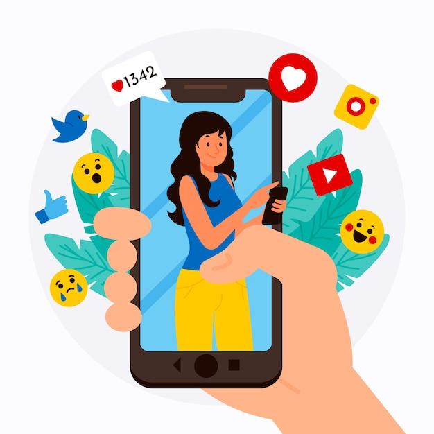 Mídia social, marketing, telefone móvel, conceito, com, emoticons Vetor grátis