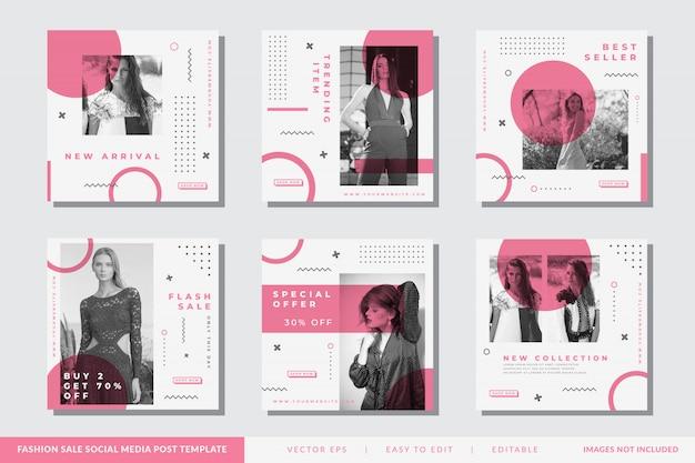 Mídia social minimalista postar modelo de instagram moda Vetor Premium