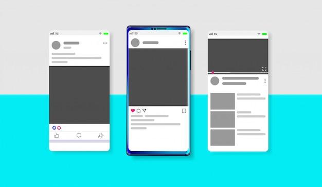 Mídia social moderna novo feed Vetor Premium