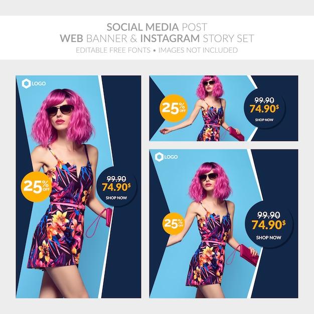 Mídia social postar banner da web e instagram story set Vetor Premium