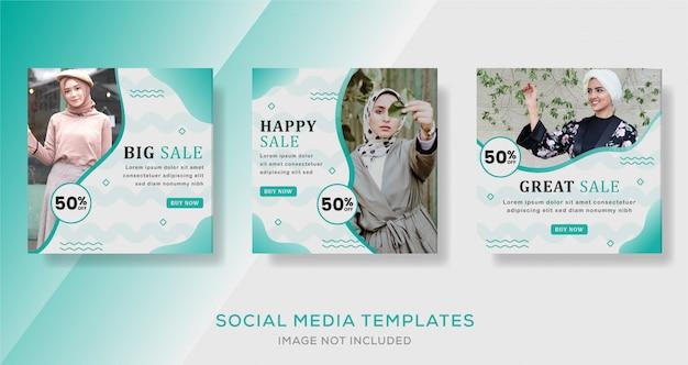 Mídia social postar banner de feed para venda de moda hijab Vetor Premium