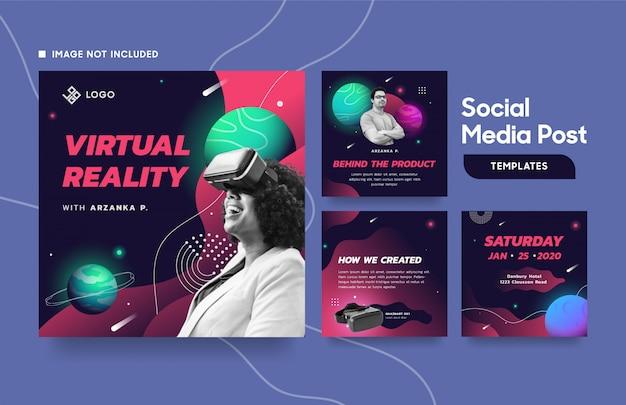 Mídia social postar modelo com planetas, galáxia e espaço Vetor Premium