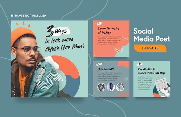 Mídia social postar modelo de moda com cores legais e formas abstratas Vetor Premium